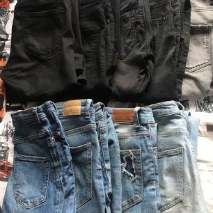 Säljer olika jeans bla bootcut jeans, skinny jeans, mom jenas. Märken som crocker, Gina tricot, pieces, only, priser varierar på byxorna storlekar mellan 32/34/36 xs/s