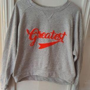 Grå sweatshirt med texten