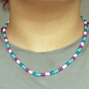 purple, pink and blue beads handmade necklace                                  Material : beads.                                                                                                           DM om du är intresserad 💌