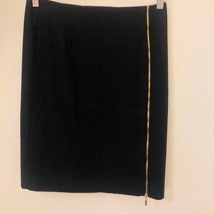 Svart kjol med guldfärgad dragkedja framtill på sidan. Längd: strax ovanför knät, figursydd, köparen står för frakten 🌸
