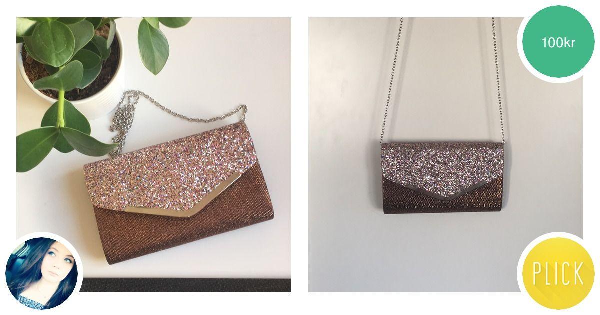 Söt bronsfärgad väska med glitter | Plick Second Hand
