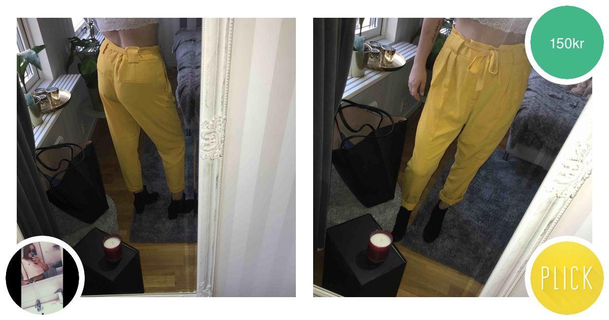 Gula kostymbyxor med rosett. Är - Gina Tricot Jeans   Byxor - Second Hand 321f16c97e3a0