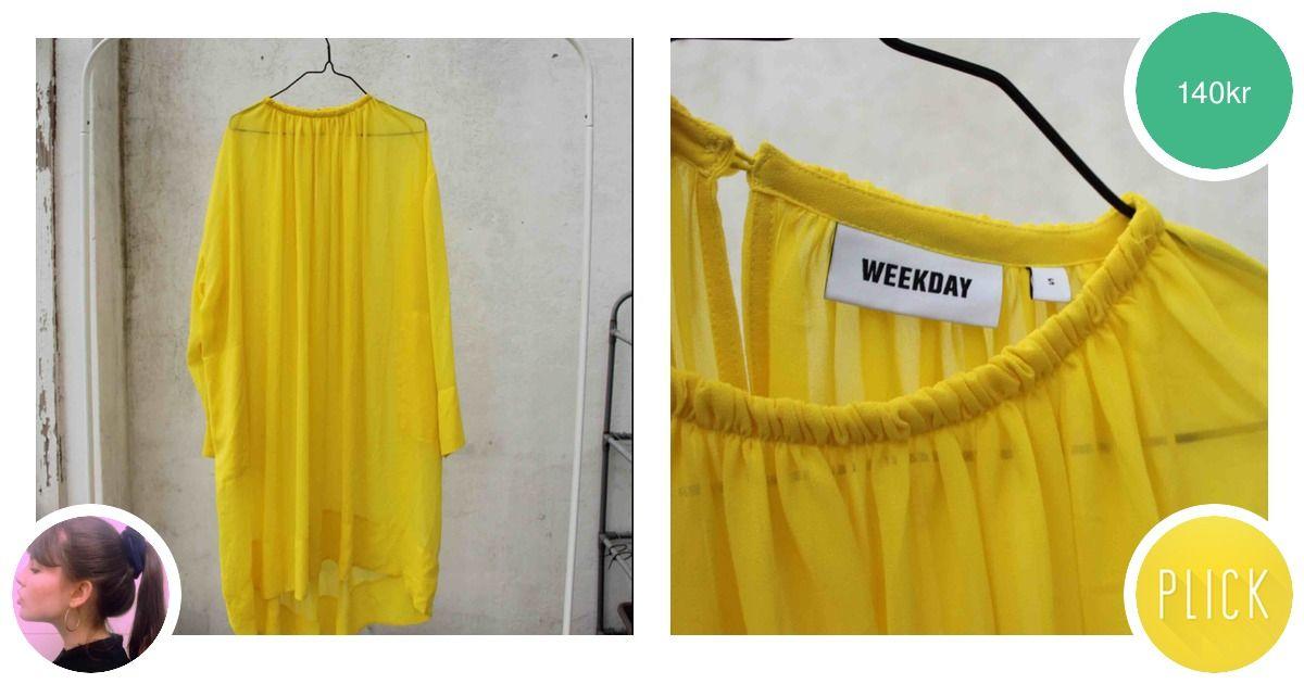81112a9d352e ✨ gul genomskinlig klänning perfekt - Weekday Klänningar - Second Hand