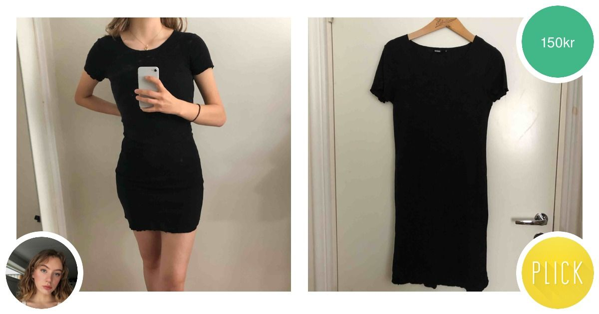 """b67668e2eb9b Basic svart klänning med """"lettuce - Bik Bok Klänningar - Second Hand"""